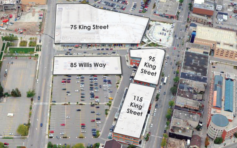 Aerial view of Waterloo Town Square King Street and Willis Way